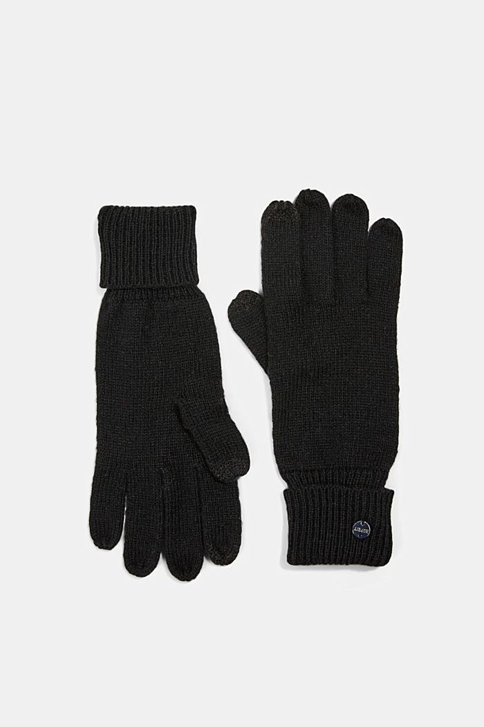 In materiale riciclato: guanti a maglia in misto lana, BLACK, detail image number 0
