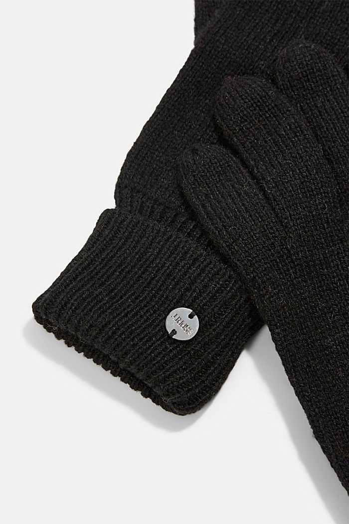 In materiale riciclato: guanti a maglia in misto lana, BLACK, detail image number 1