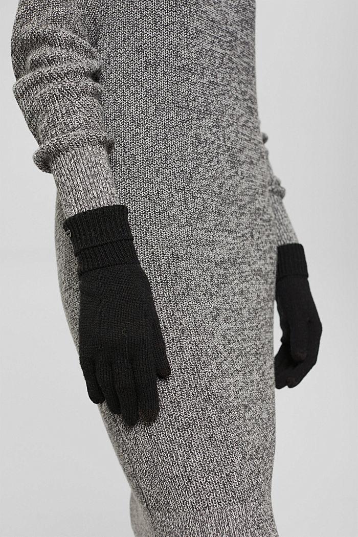 In materiale riciclato: guanti a maglia in misto lana, BLACK, detail image number 2