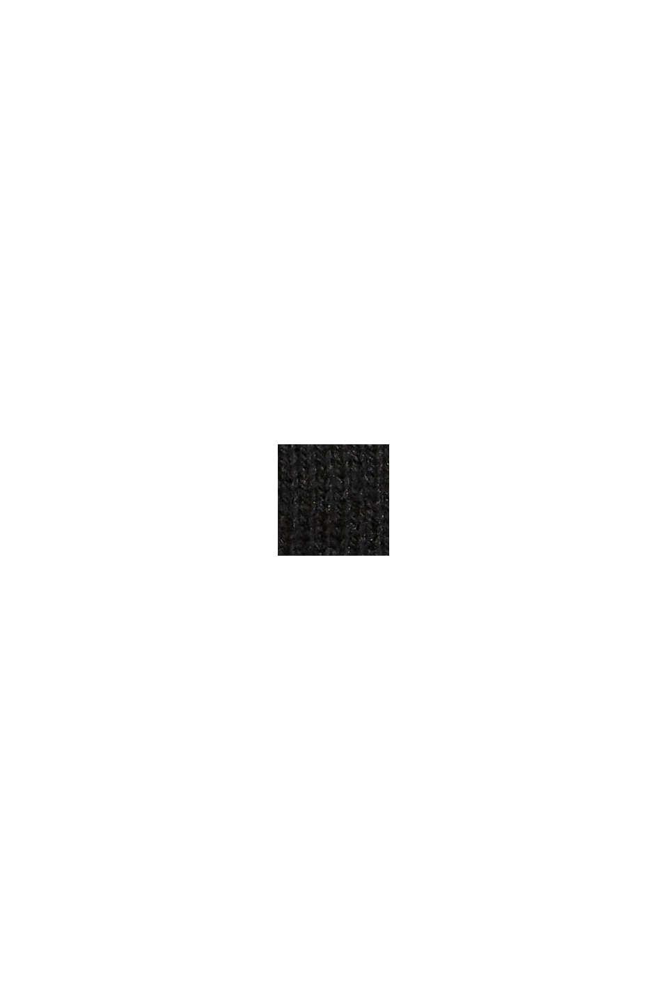 In materiale riciclato: guanti a maglia in misto lana, BLACK, swatch