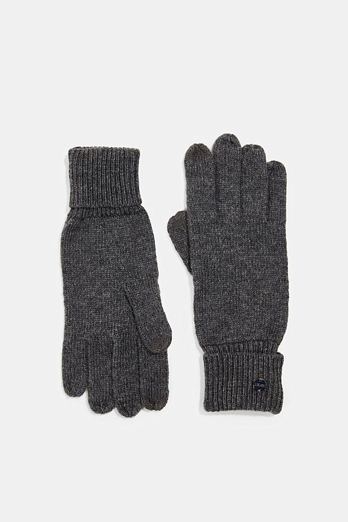 In materiale riciclato: guanti a maglia in misto lana, DARK GREY, detail image number 0