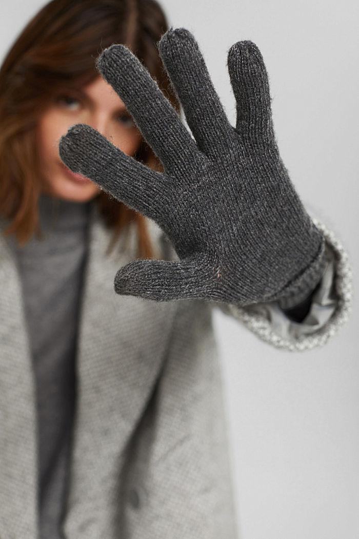 In materiale riciclato: guanti a maglia in misto lana, DARK GREY, detail image number 3