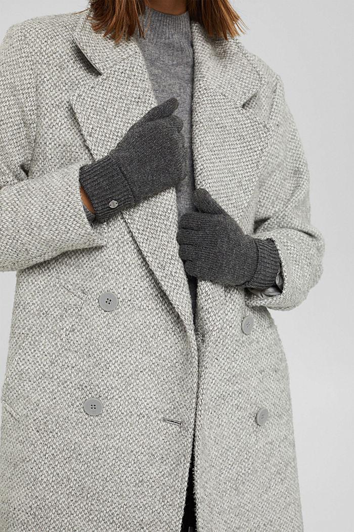 In materiale riciclato: guanti a maglia in misto lana