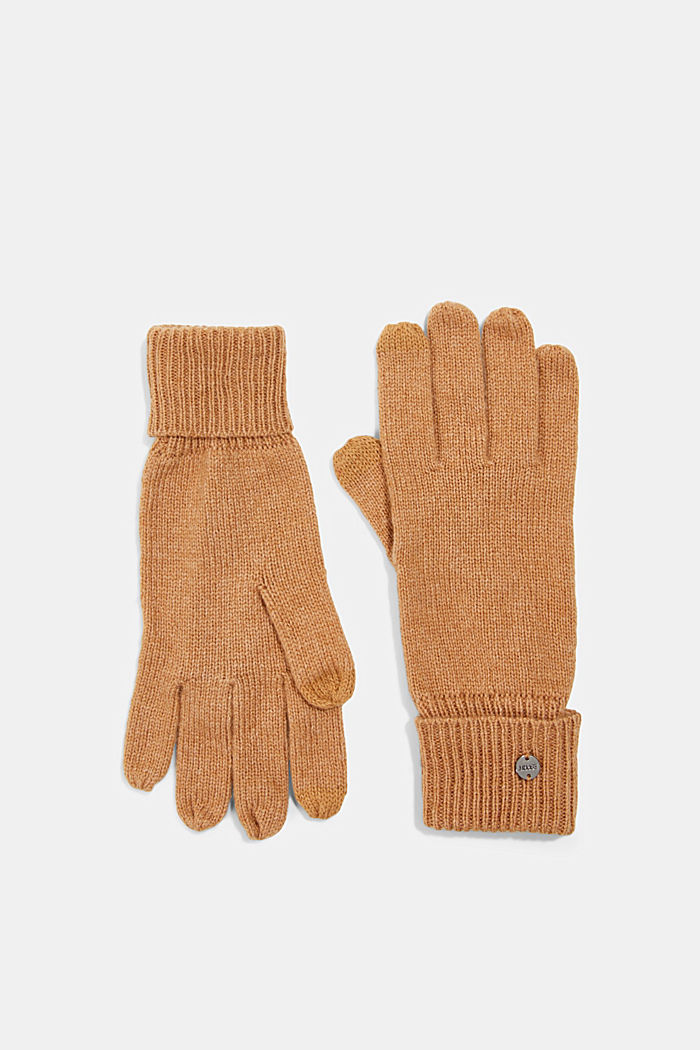 Recycled: knitted gloves made of blended wool, CARAMEL, detail image number 0