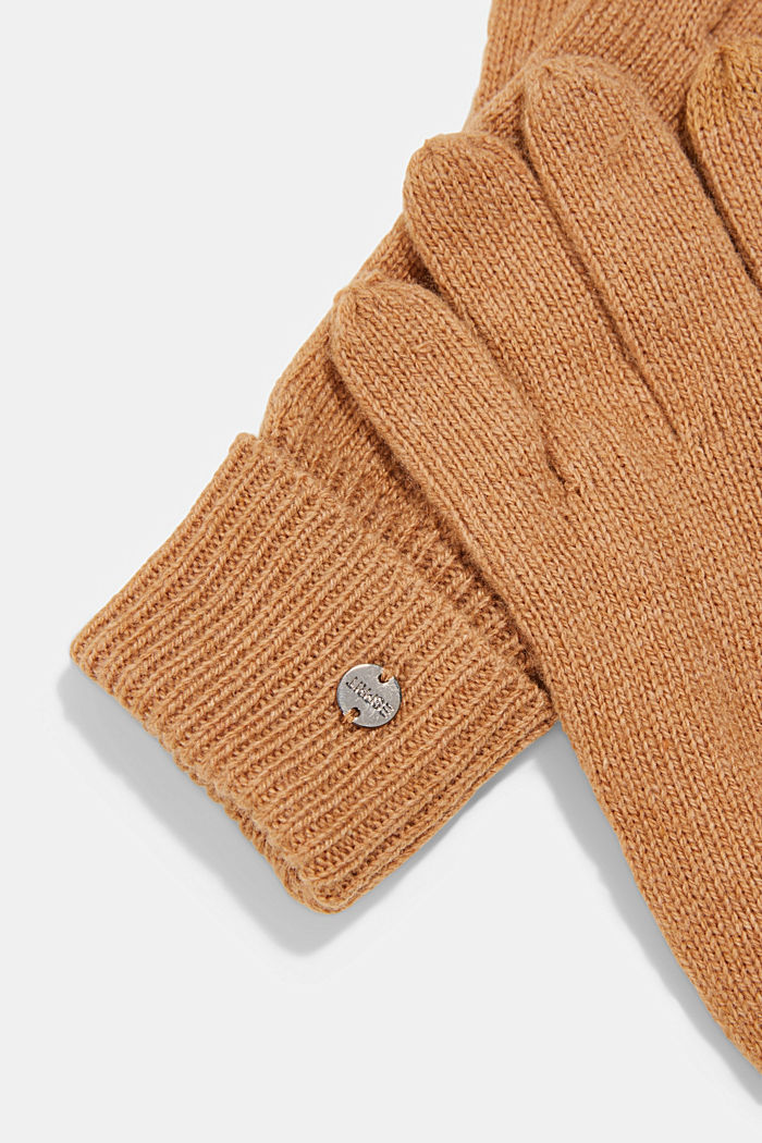Recycled: knitted gloves made of blended wool, CARAMEL, detail image number 1