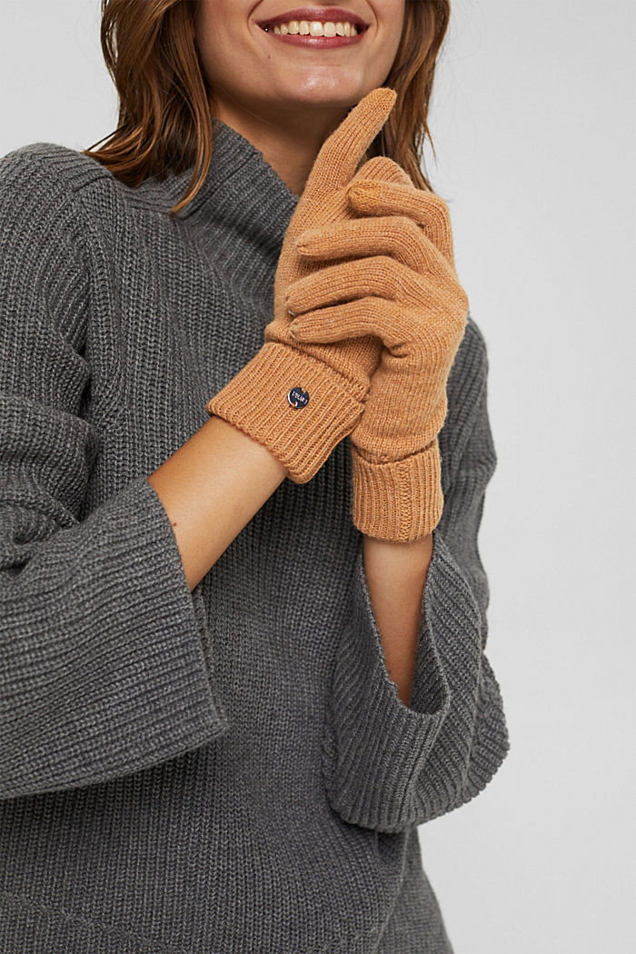 Recycled: knitted gloves made of blended wool, CARAMEL, detail image number 2
