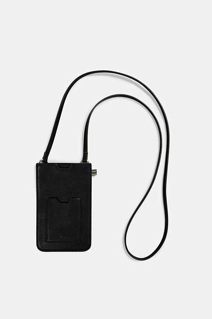 Smartphone bag in faux leather, BLACK, detail image number 0