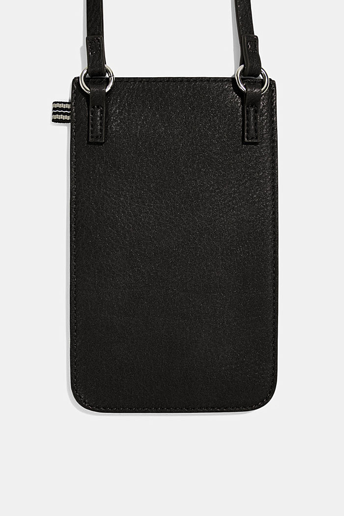 Smartphone bag in faux leather, BLACK, detail image number 2