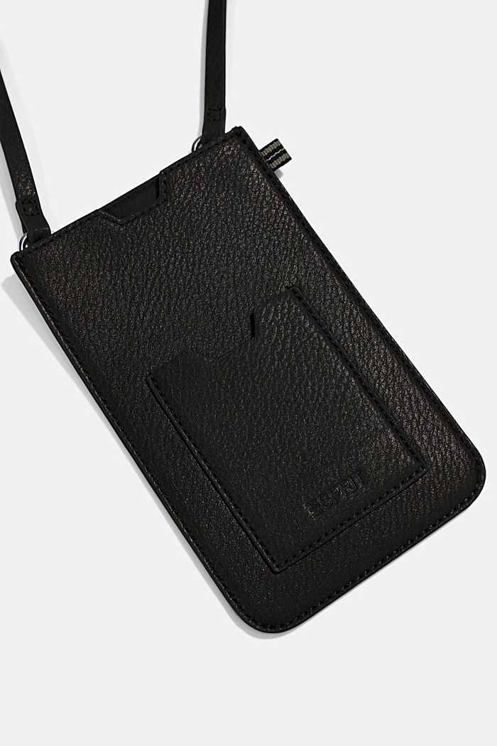 Smartphone bag in faux leather, BLACK, detail image number 1