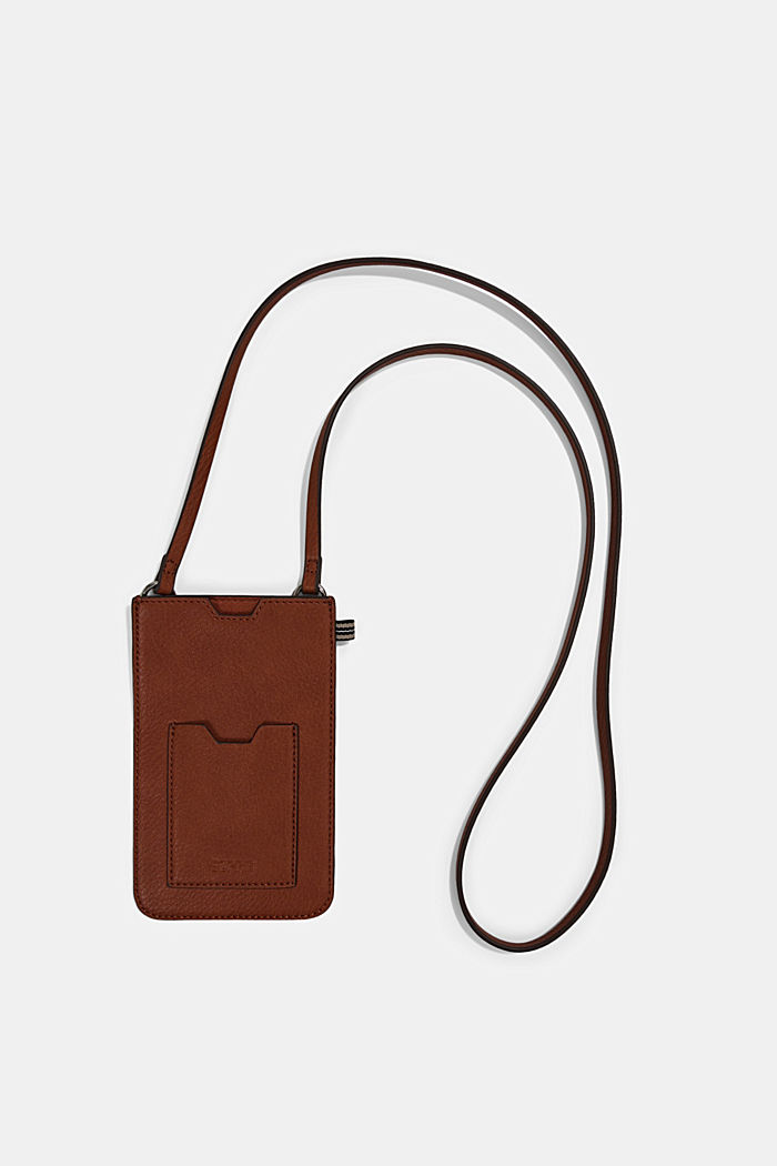 Smartphone bag in faux leather, RUST BROWN, detail image number 0