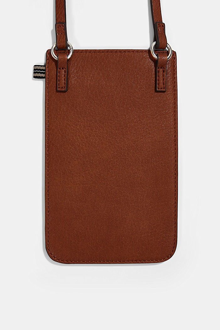 Smartphone bag in faux leather, RUST BROWN, detail image number 2