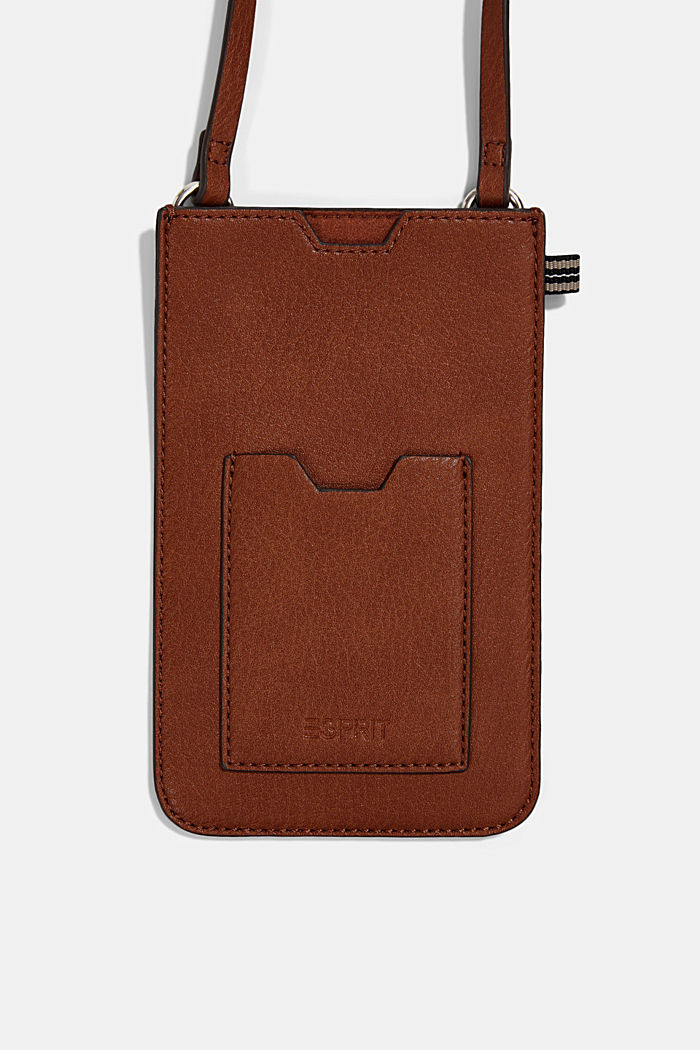 Smartphone bag in faux leather, RUST BROWN, detail image number 1