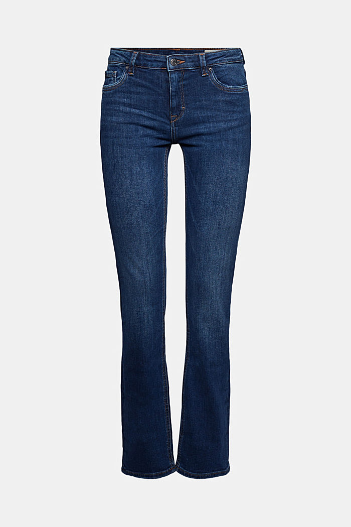 Stretch jeans containing organic cotton, BLUE DARK WASHED, detail image number 6