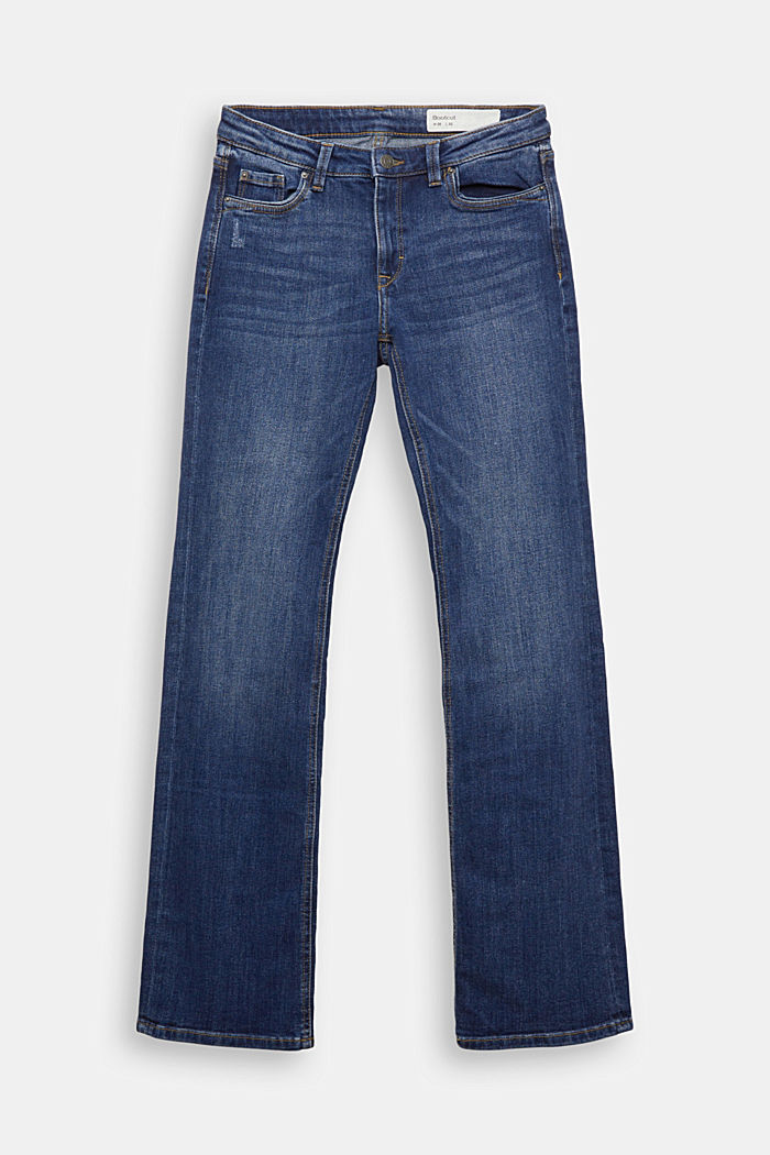 Super stretch jeans with organic cotton, BLUE DARK WASHED, detail image number 6
