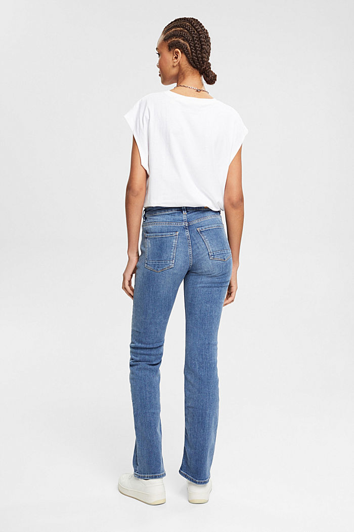 Super stretch jeans with organic cotton, BLUE MEDIUM WASHED, detail image number 3