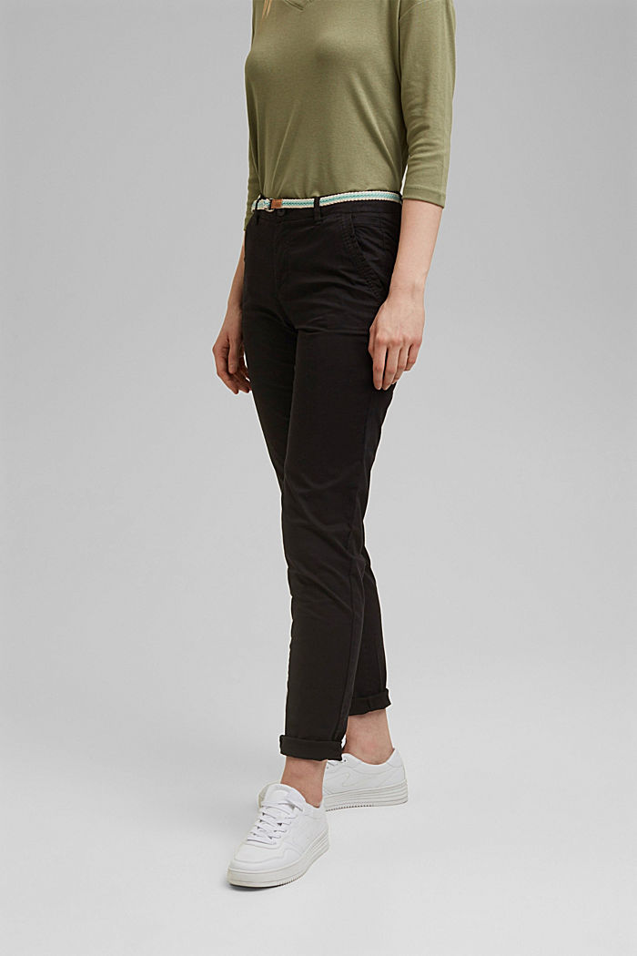 Chinos with innovative stretch fibres, BLACK, detail image number 0