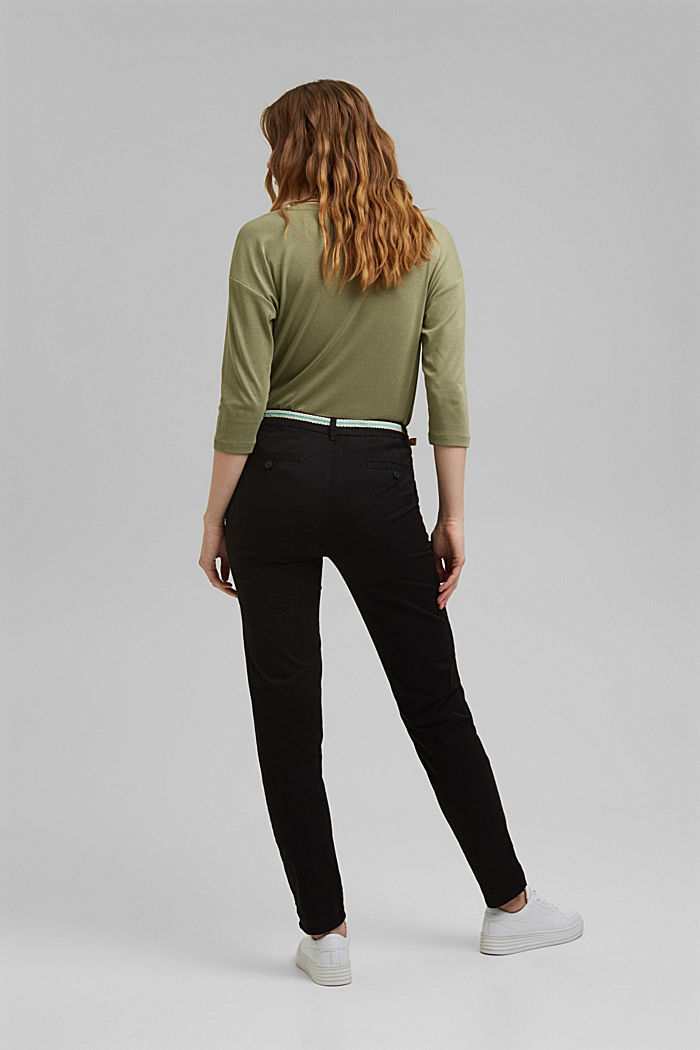 Chinos with innovative stretch fibres, BLACK, detail image number 3
