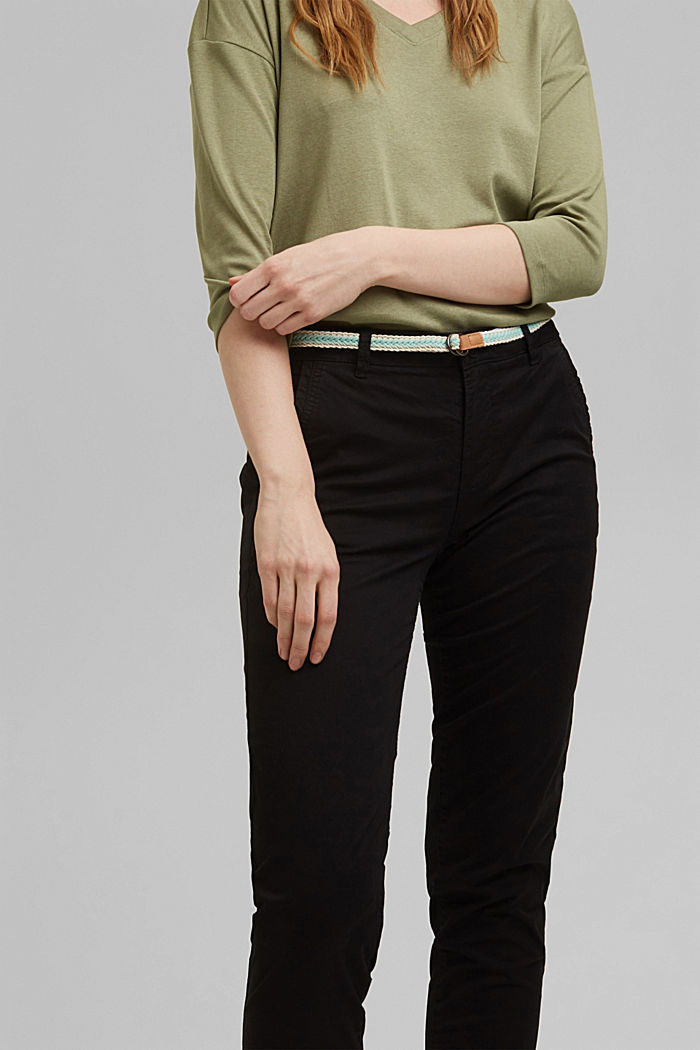 Chinos with innovative stretch fibres, BLACK, detail image number 2