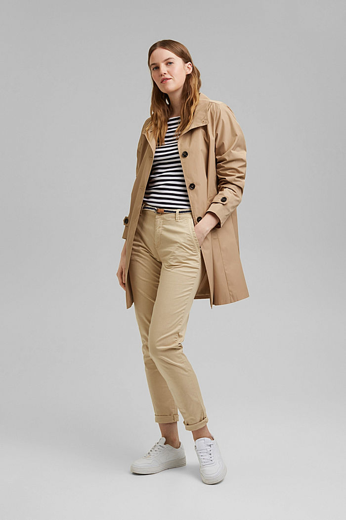 Chinos with innovative stretch fibres, CREAM BEIGE, detail image number 1