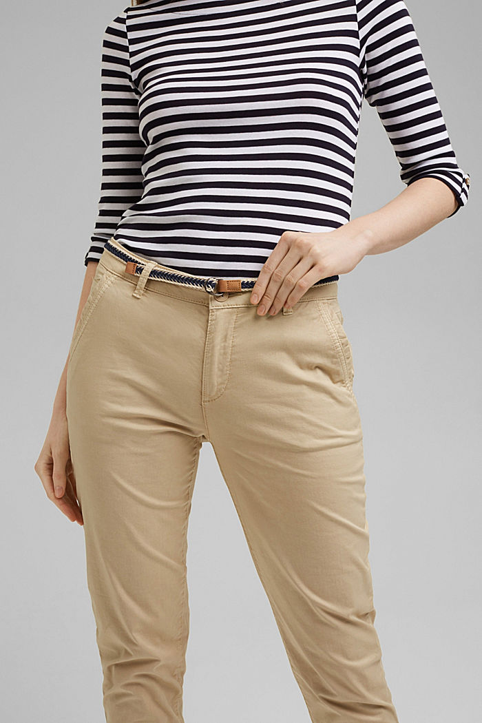 Chinos with innovative stretch fibres, CREAM BEIGE, detail image number 2