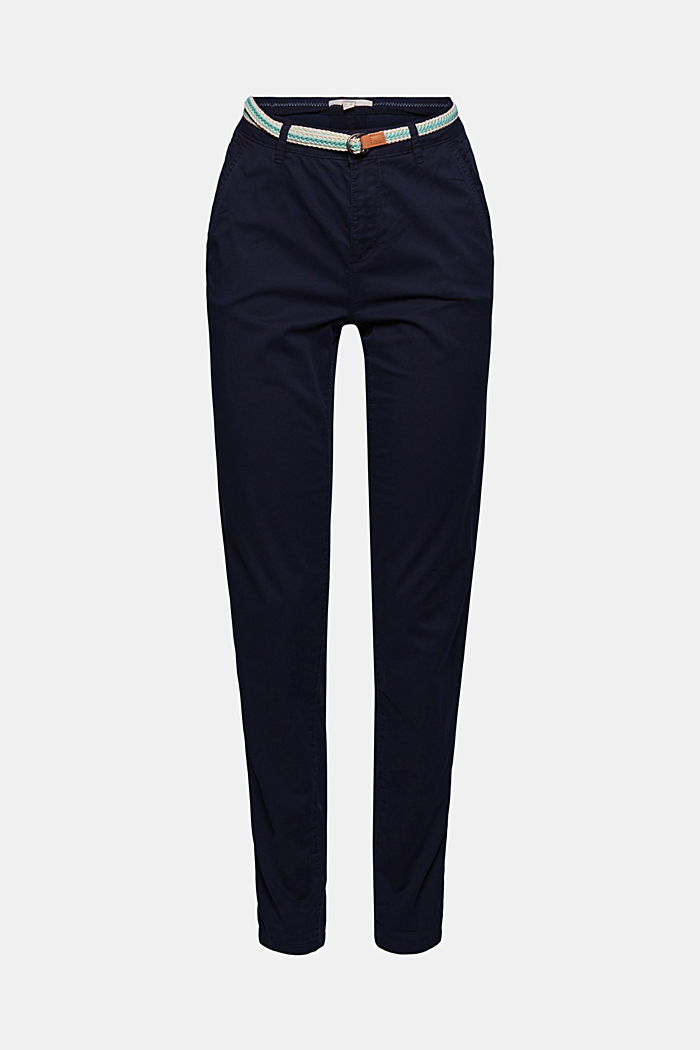 Chinos with innovative stretch fibres, NAVY, overview