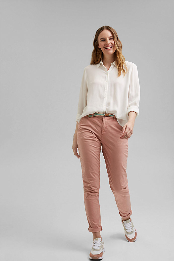 Chinos with innovative stretch fibres, NUDE, detail image number 1