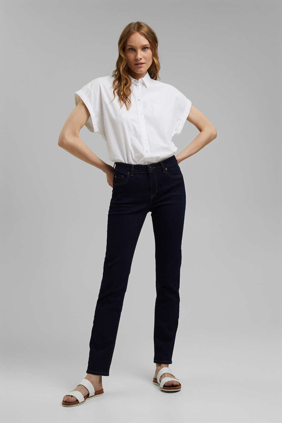 Esprit - Super stretch jeans with organic cotton