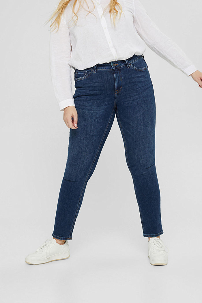 CURVY stretch jeans with organic cotton, BLUE DARK WASHED, detail image number 0