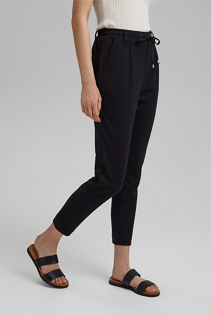 Stretch trousers with an elasticated waistband, BLACK, detail image number 0
