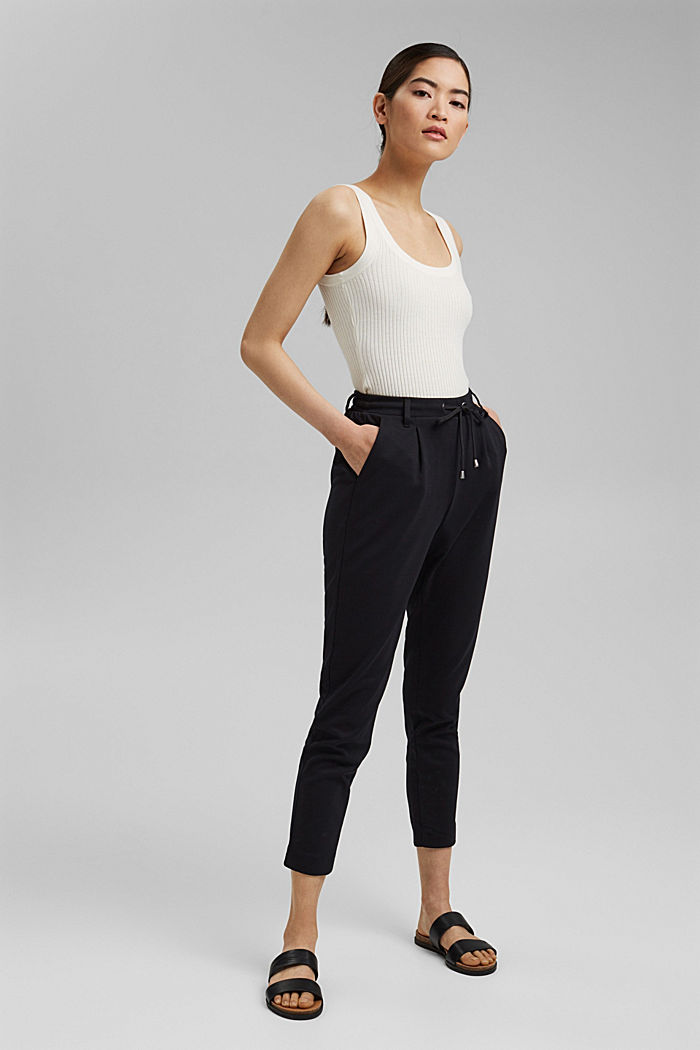 Stretch trousers with an elasticated waistband, BLACK, detail image number 6