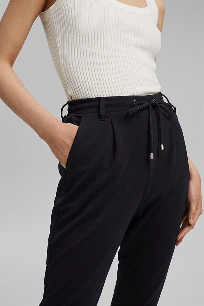 Stretch trousers with an elasticated waistband, BLACK, detail image number 2