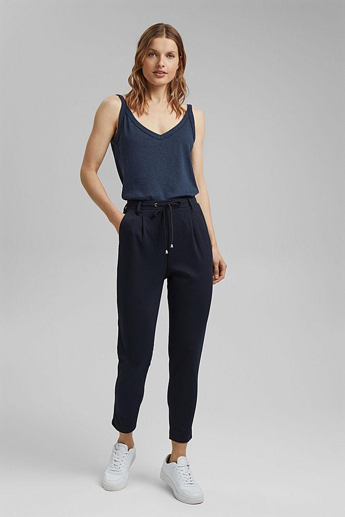 Pantalon stretch muni d´une taille élastique, DARK BLUE, detail image number 1