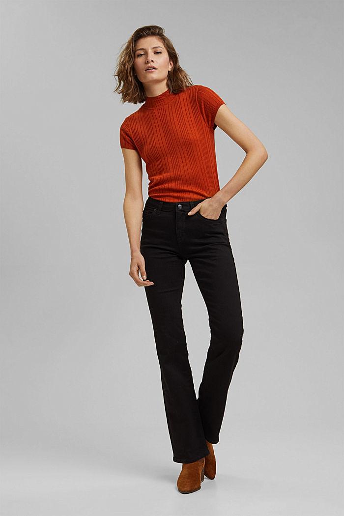 Bootcut jeans van een mix met biologisch katoen, BLACK RINSE, detail image number 7