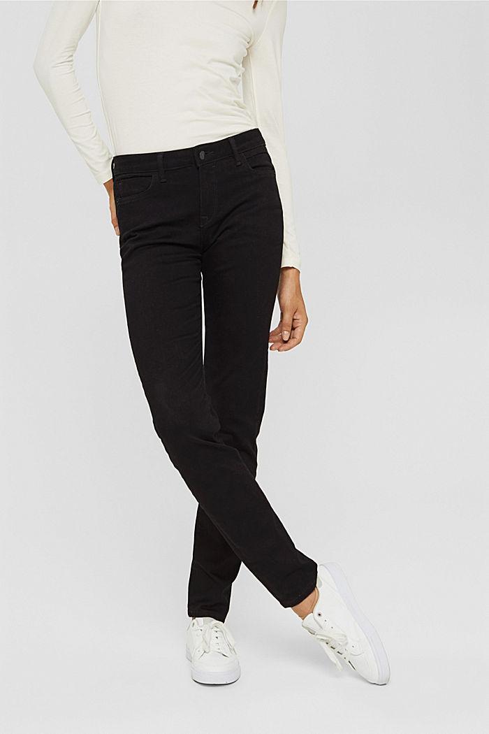 Jean stretch en coton biologique mélangé, BLACK RINSE, detail image number 0