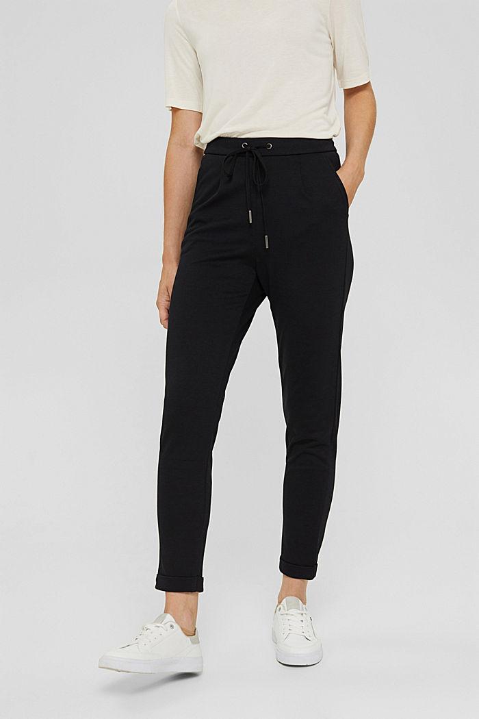 Pantalon de jogging en maille piquée à taille élastique, BLACK, detail image number 0