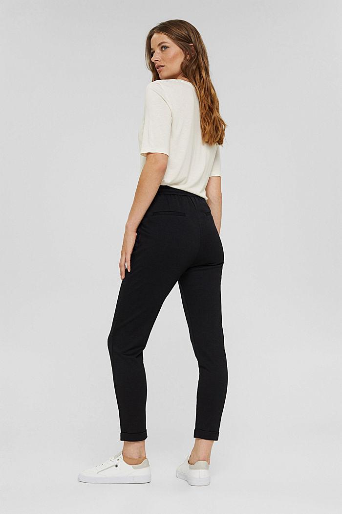 Pantalon de jogging en maille piquée à taille élastique, BLACK, detail image number 3