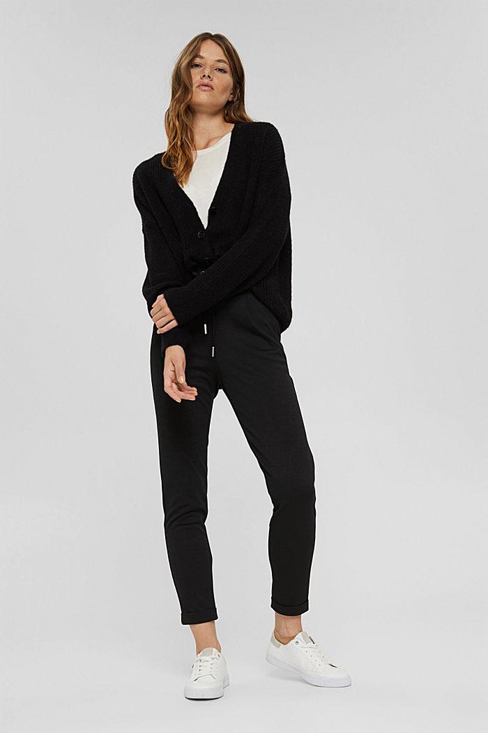 Pantalon de jogging en maille piquée à taille élastique, BLACK, detail image number 1