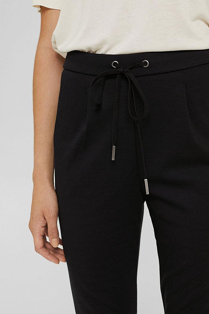 Pantalon de jogging en maille piquée à taille élastique, BLACK, detail image number 2