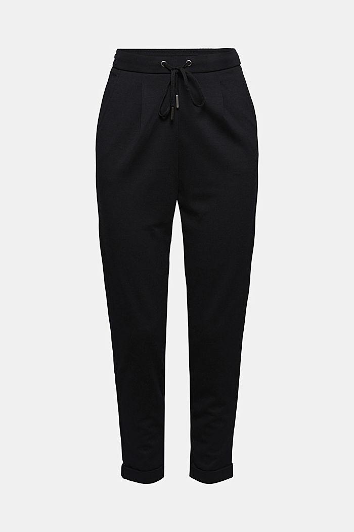Pantalon de jogging en maille piquée à taille élastique, BLACK, detail image number 6