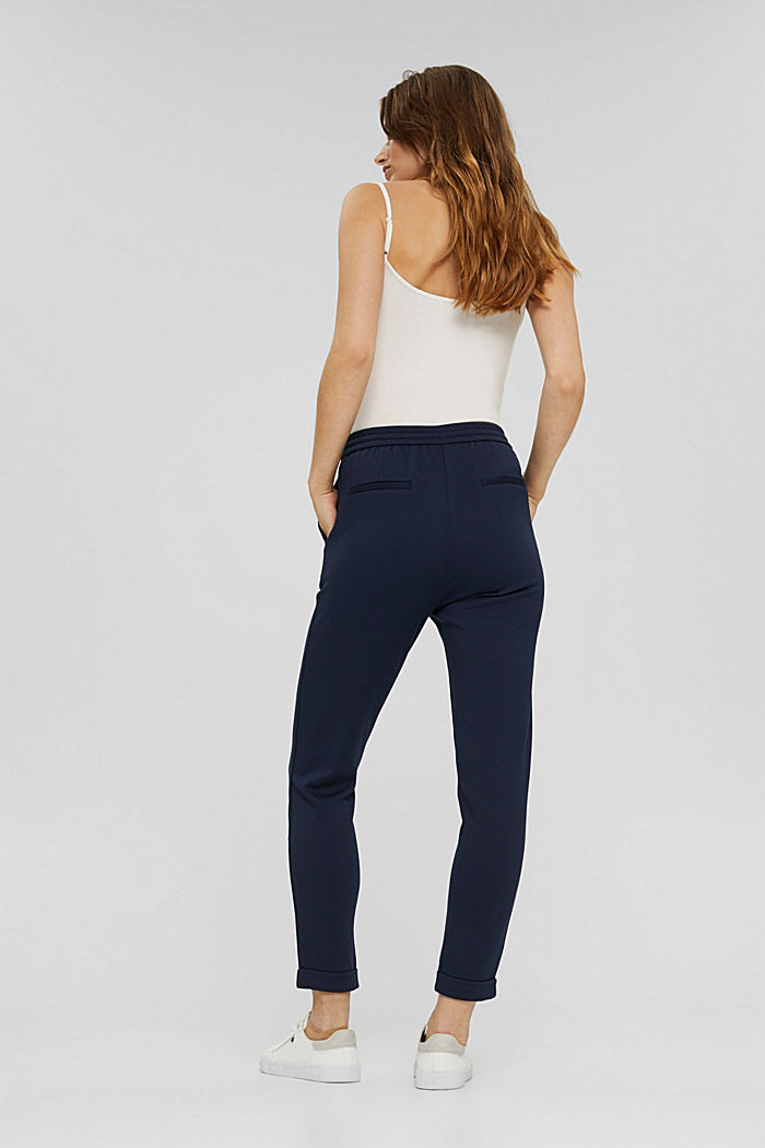 Recycled: Stretch trousers with an elasticated waistband, NAVY, detail image number 3