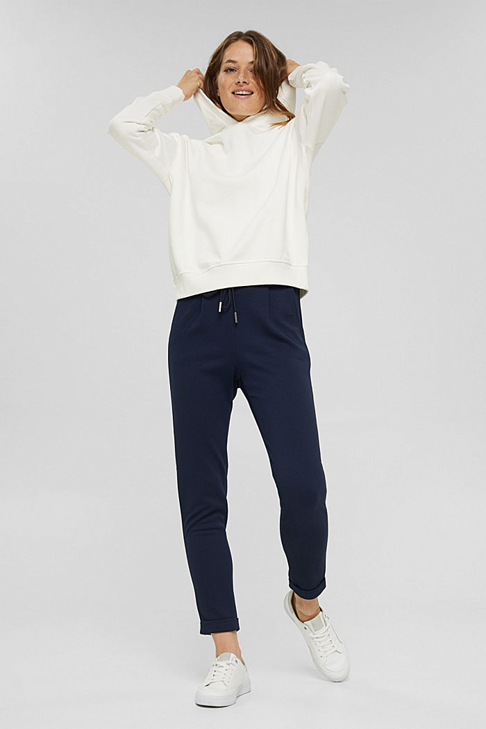 Recycled: Stretch trousers with an elasticated waistband, NAVY, detail image number 1