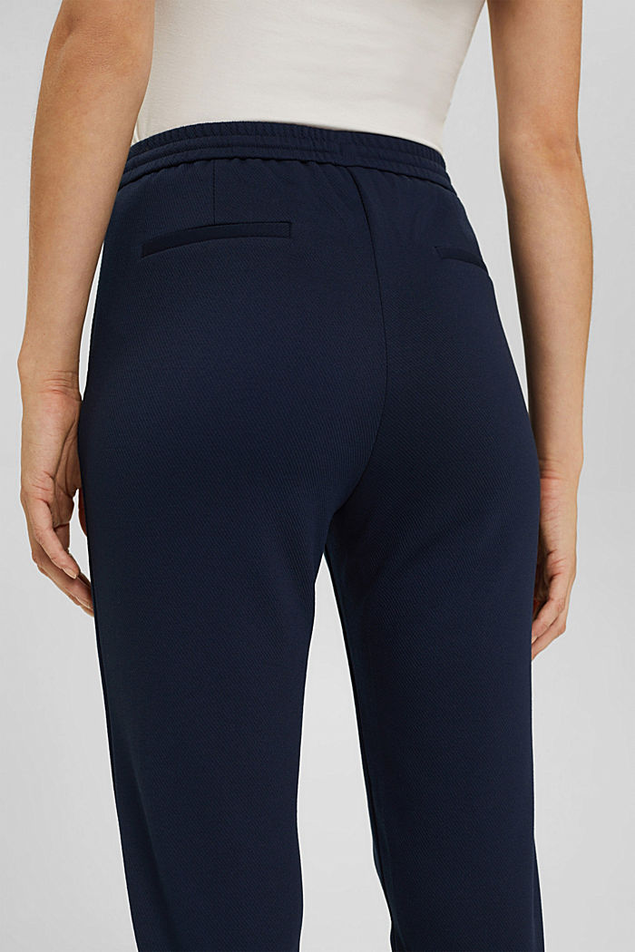 Recycled: Stretch trousers with an elasticated waistband, NAVY, detail image number 5