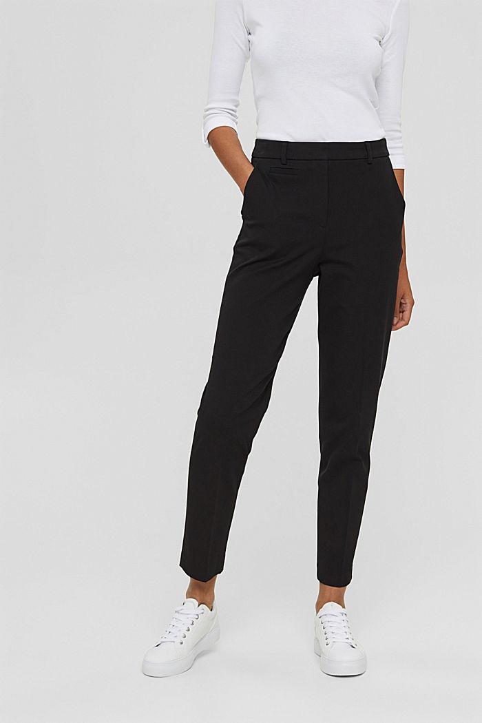 Pantaloni stretch in misto cotone, BLACK, detail image number 0