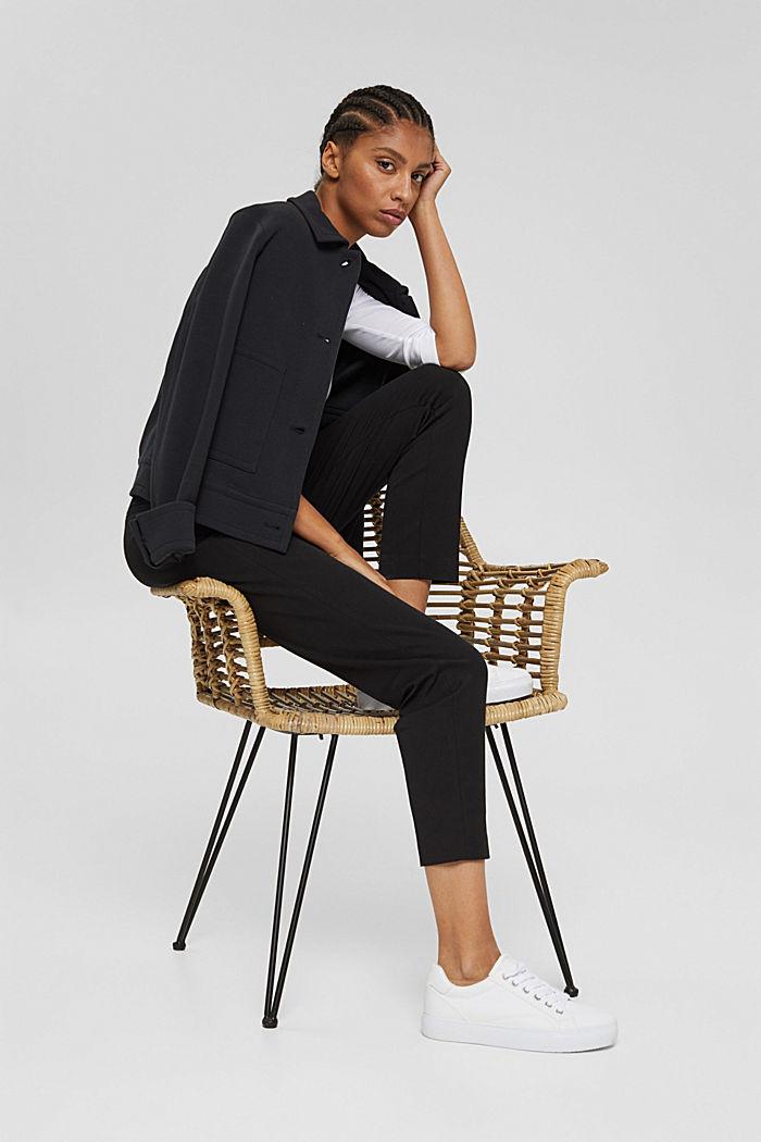 Pantaloni stretch in misto cotone, BLACK, detail image number 6