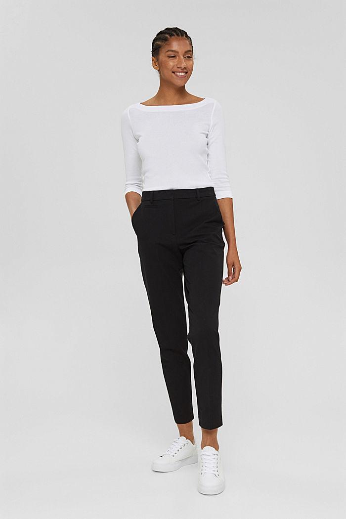 Pantaloni stretch in misto cotone, BLACK, detail image number 1
