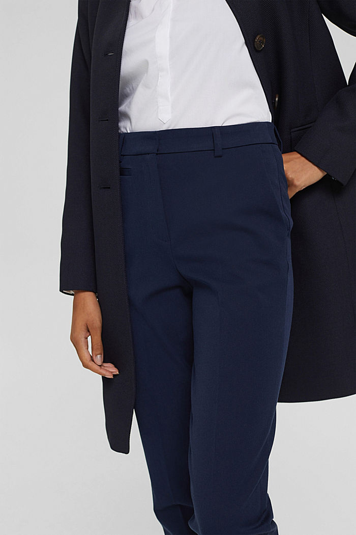 Cotton-blend stretch trousers, NAVY, detail image number 2
