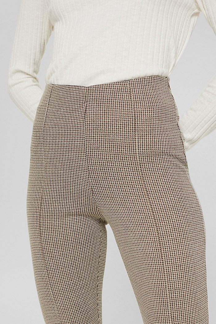 In materiale riciclato: leggings pied de poule in maglia, CAMEL, detail image number 2