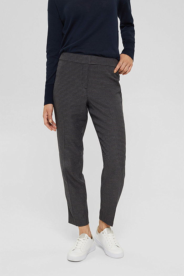 Recycled: patterned stretch trousers, DARK GREY, detail image number 0