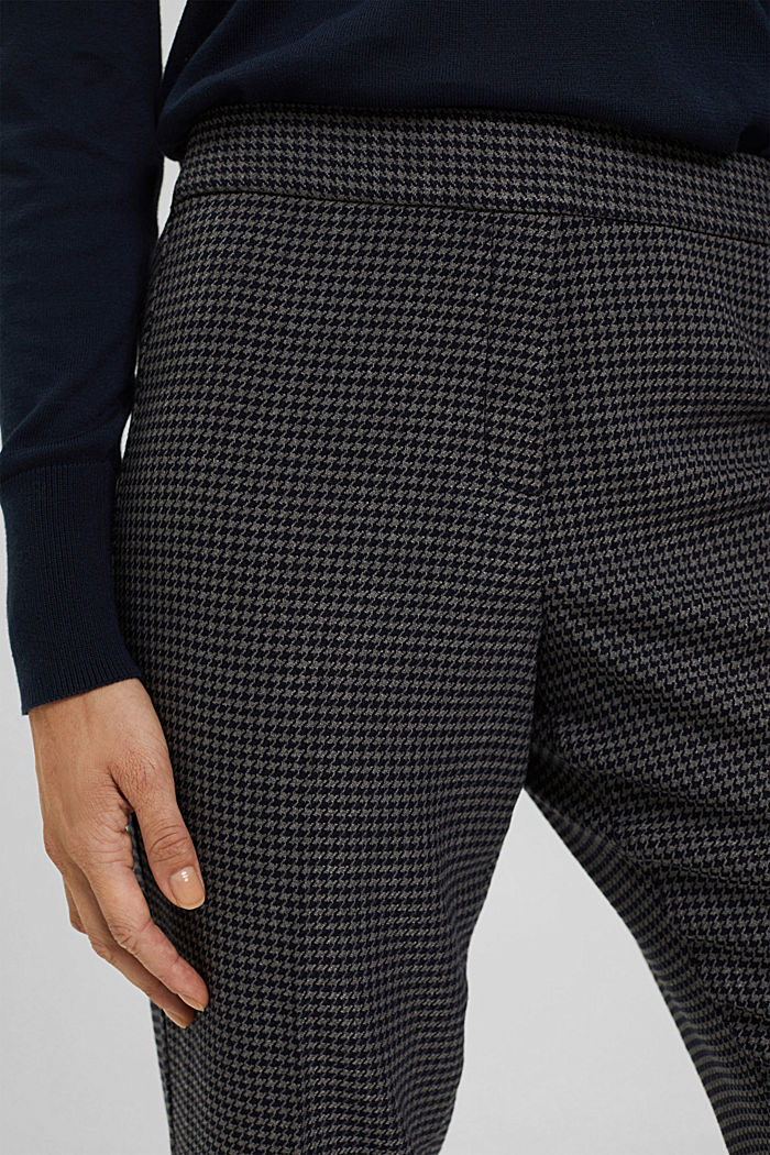 Recycled: patterned stretch trousers, DARK GREY, detail image number 2