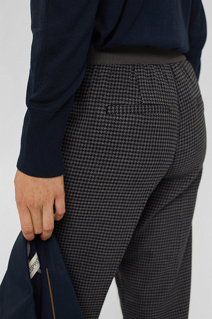 Recycled: patterned stretch trousers, DARK GREY, detail image number 5